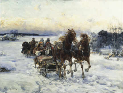 Canvas print  The sleigh ride - Alfred von Wierusz-Kowalski