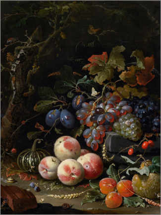 Premium poster Still life with fruits, leaves and insects