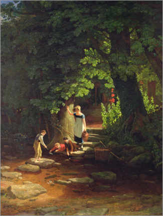 Foam board print  Children by a stream - Francis Danby