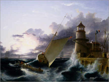 Aluminium print  Boat at the lighthouse, a gust starts - Francis Danby