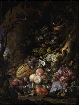 Premium poster  Flowers, fruits, birds and insects in a landscape with ruins - Abraham Mignon
