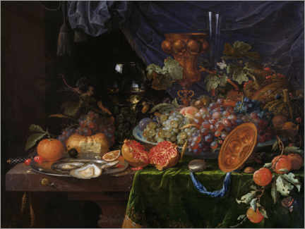 Aluminium print  Still life with fruit and oysters - Abraham Mignon