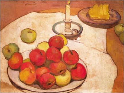 Canvas print  Still life with apples and candlestick - Wladyslaw Slewinski