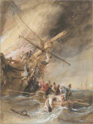 Gallery print  Fire at sea - William Clarkson Stanfield
