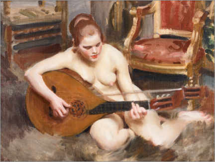 Foam board print  Naked woman with guitar - Anders Leonard Zorn