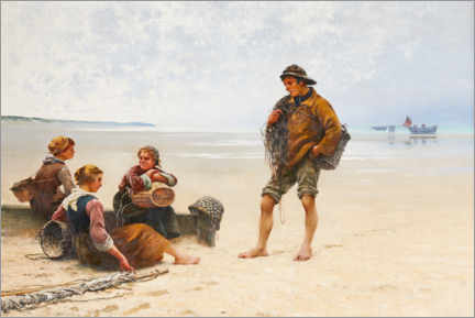 Premium poster  Oyster pickers on the beach in Brittany - August Hagborg