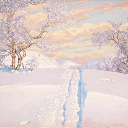 Aluminium print  Winter Landscape with Ski Tracks - Gustaf Edolf Fjæstad