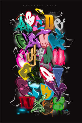 Premium poster  Graffiti Alphabet - plaque one
