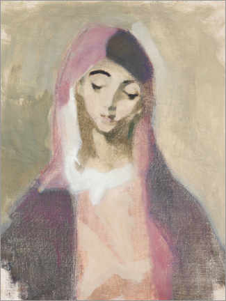 Wood print  Madonna of Mercy - Helene Schjerfbeck
