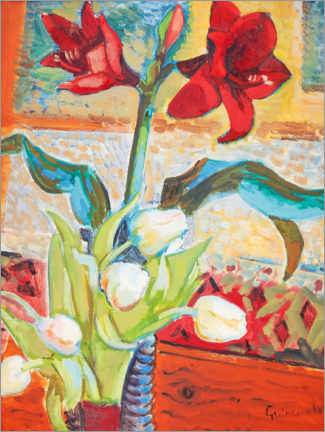 Premium poster  Red amaryllis and white tulips - Isaac Grünewald