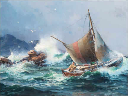 Gallery print  Fishing ship in rough seas - Herman Af Sillen
