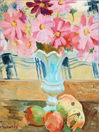 Premium poster Still life with garden cosmos and apples