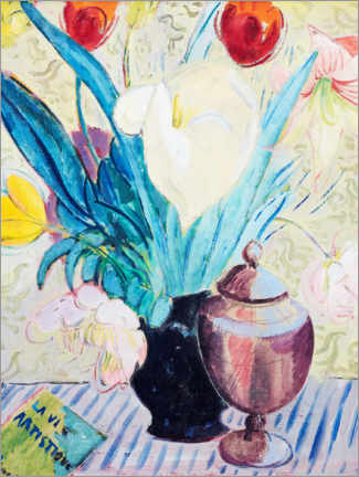 Premium poster Still life with tulips and urn
