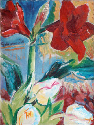 Canvas print  Still life with tulips and red belladonna lily - Isaac Grünewald