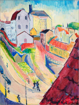 Premium poster  Red roof - view of the Glasbruksgatan - Isaac Grünewald