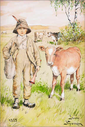 Acrylic print  Shepherd boy with calf - Jenny Nyström