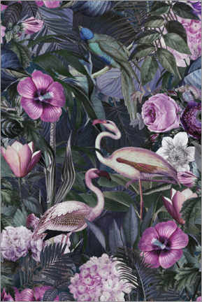 Premium poster  Flamingos in the dark jungle - Andrea Haase