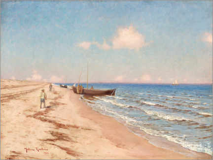 Canvas print  Beach motif with fishermen and fishing boats - Johan Krouthén