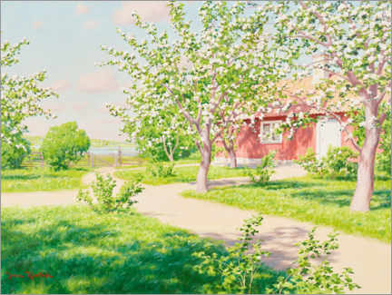 Wall sticker  Blossoming apple tree with red hut - Johan Krouthén