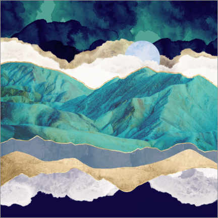 Acrylic print  Teal Mountains - SpaceFrog Designs