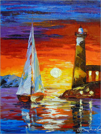Premium poster Sailboat and lighthouse