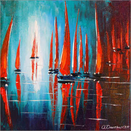 Premium poster  Sailboats on the roadstead - Olha Darchuk