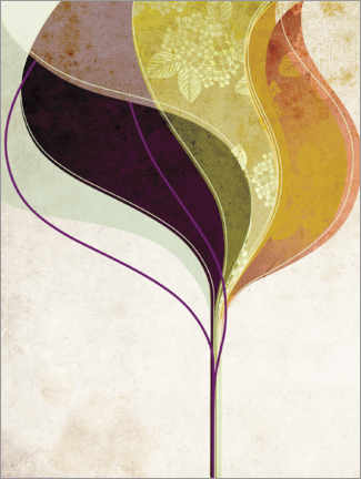 Premium poster  Abstract leaves II - Lara Skinner