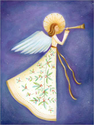 Wood print  Christmas angel - Ileana Oakely