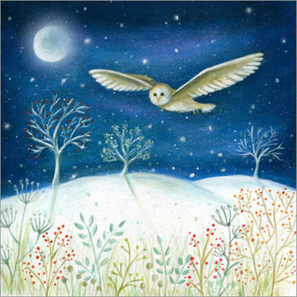 Foam board print  Snowy owl in the moonlight - Ileana Oakely