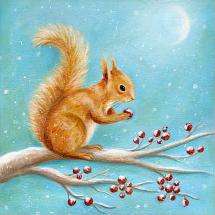Wood print  Squirrel with winter fruits - Ileana Oakely