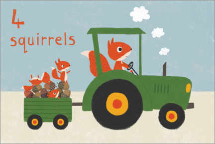Premium poster  Squirrel driving tractor - Lucy Barnard