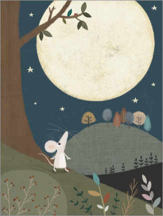 Canvas print  The little mouse and the moon - Lucy Barnard