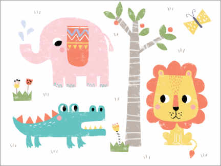 Premium poster  Cute jungle animals - Louise Anglikas