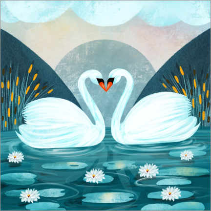 Wall sticker  Pair of Swans - Grace Andersson