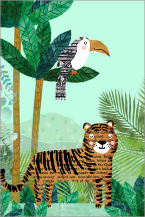 Premium poster Tiger and toucan