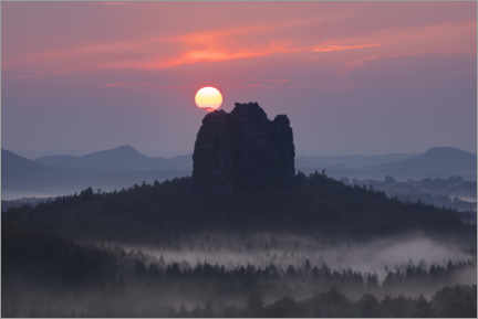 Premium poster  Sunset over the Falkenstein, Saxon Switzerland - Tobias Richter