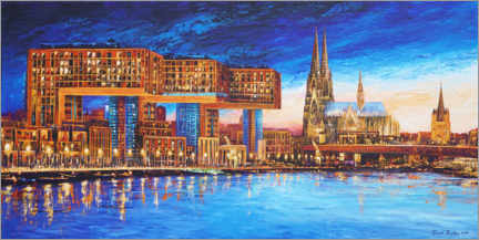 Canvas print  Cologne crane houses at night - Renate Berghaus