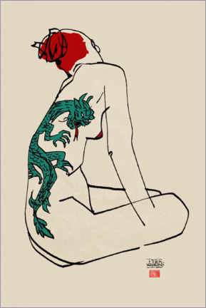 Wood print  Nude with dragon tattoo - Pieter Hogenbirk
