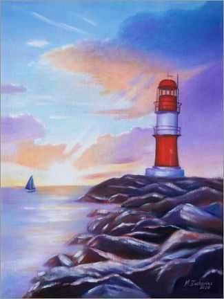 Canvas print  Sunrise at the lighthouse - Marita Zacharias