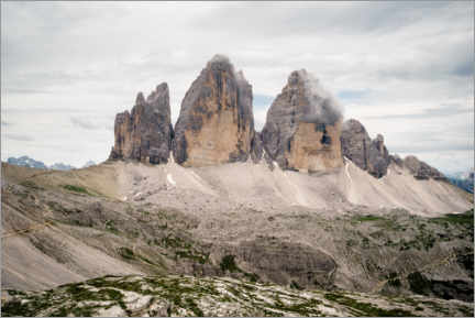 Canvas print  Three peaks in the Dolomites - Road To Aloha