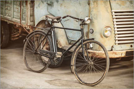 Premium poster  Ancient bicycle in an old factory - Martin Bergsma