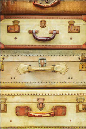 Premium poster Stack of ancient travel suitcases