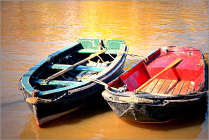 Wood print  Two boats in the evening light - Sarnade