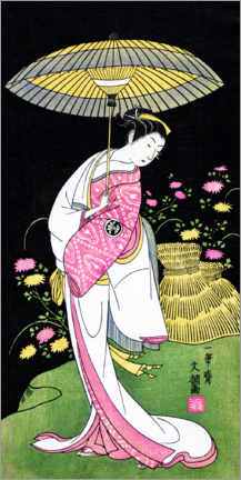 Premium poster  Actor portraying a woman with an umbrella - Ippitsusai Buncho