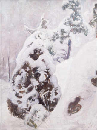Wood print  Slope with snow-covered juniper - Pekka Halonen