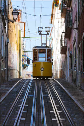 Canvas print  Yellow cable car in Lisbon - Matteo Colombo