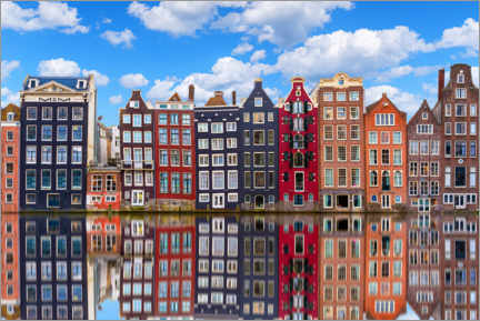 Aluminium print  Houses are reflected on the canal, Amsterdam - George Pachantouris