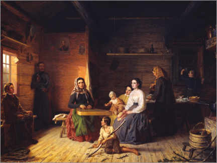 Canvas print  Kreeta Haapasalo plays the kantele in a farmhouse - Robert Wilhelm Ekman