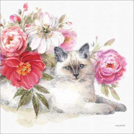 Canvas print  Adorable cat with flowers - Lisa Audit