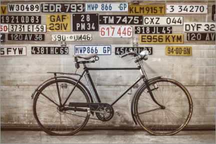 Acrylic print  Old bike in front of an old factory door - Martin Bergsma